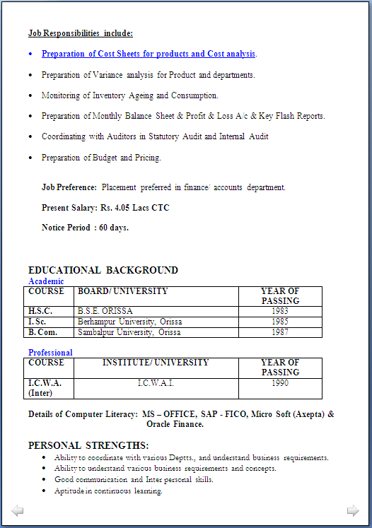 Ms Office Resume Format | Sample Customer Service Resume