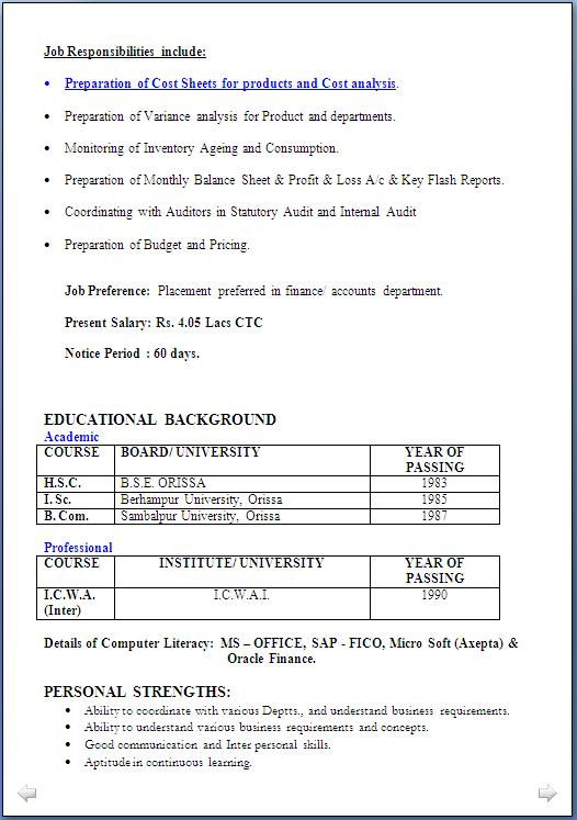 Resume Blog Co Resume Sample C W A Inter Having 16