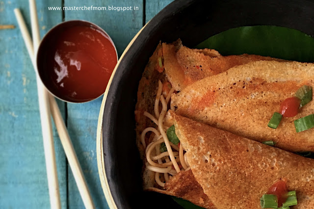 Schezwan Dosa | Bombay Style Schezwan Dosa | Dosa With Chow Mein Noodle Stuffing|