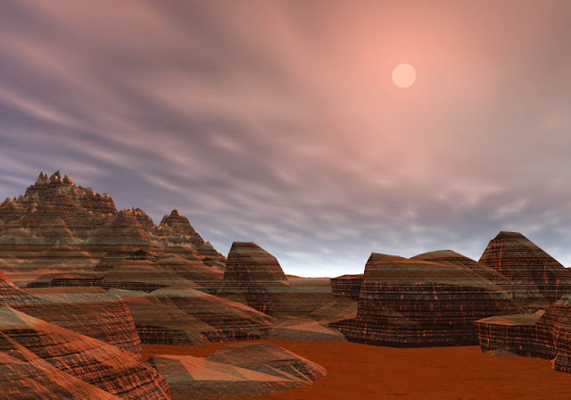 Imagen del planeta marte, paisaje de rocas