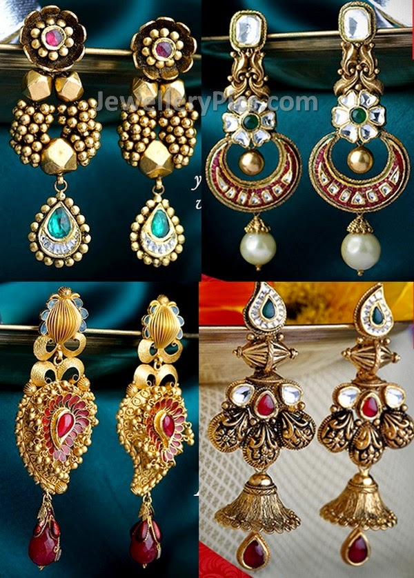 gold earrings hangings from kalyan jewellers - Latest ...