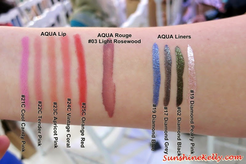 colour swatches, Make Up For Ever Aqua Collection 2014, Make Up For Ever, Aqua Collection 2014, Aqua Smoky Extravagant, Aqua Cream, Aqua Lip, Aqua Liners, Aqua Rouge, Mist & Fix, waterproof makeup, smudge proof makeup, crease proof makeup