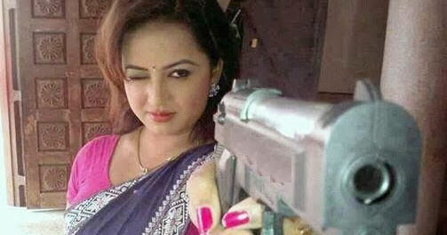 Indian Women with Gun Funny Photo