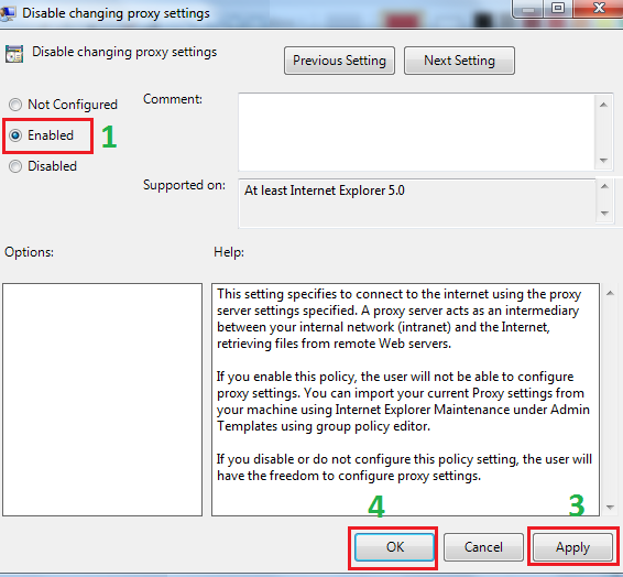 Disable Proxy Server Setting