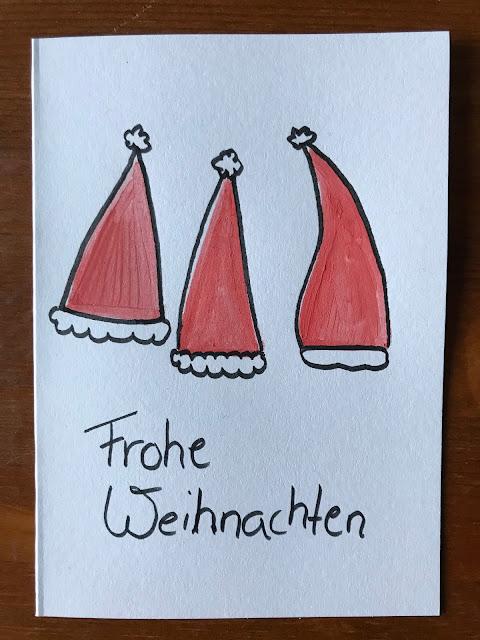 Weihnachtskarten selber basteln - Karte mit Weihnachtsmütze