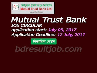 Mutual Trust Bank Ltd. Job Circular 2017