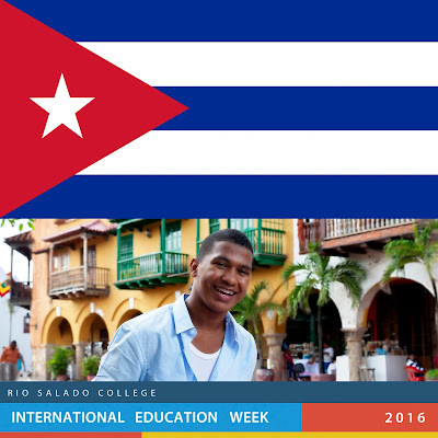 Two images, Cuban flag on top, on the bottom Cuban student smiling with yellow building in background, Text across the bottom: Rio Salado College International Education Week