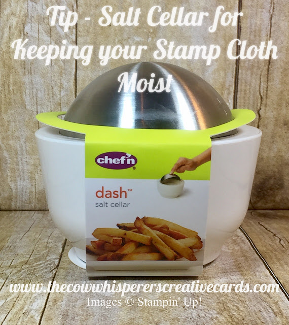 stamp cleaning cloth, XL absorber, salt cellar, cards, tip, stampin up