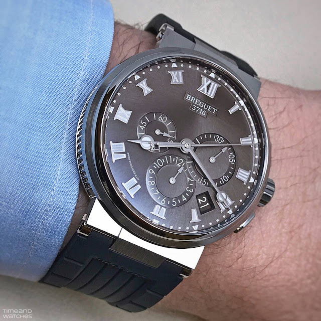 Wristshot of the Breguet Marine Chronograph 5527 in titanium