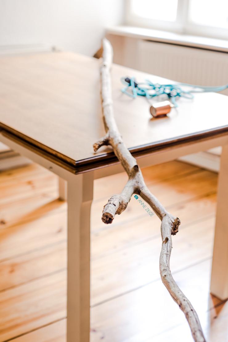 ch vre culinaire diy ganz easy eine astlampe selber machen do it yourself aus holz und kupfer. Black Bedroom Furniture Sets. Home Design Ideas