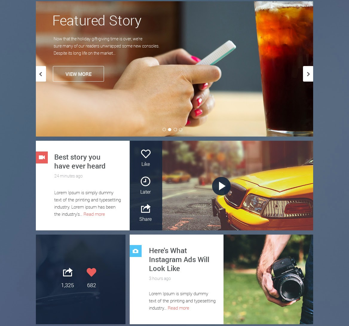 Blog & Magazine UI Kit PSD