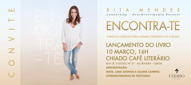 convite para o lançamento do livro Encontra-te de Rita Mendes
