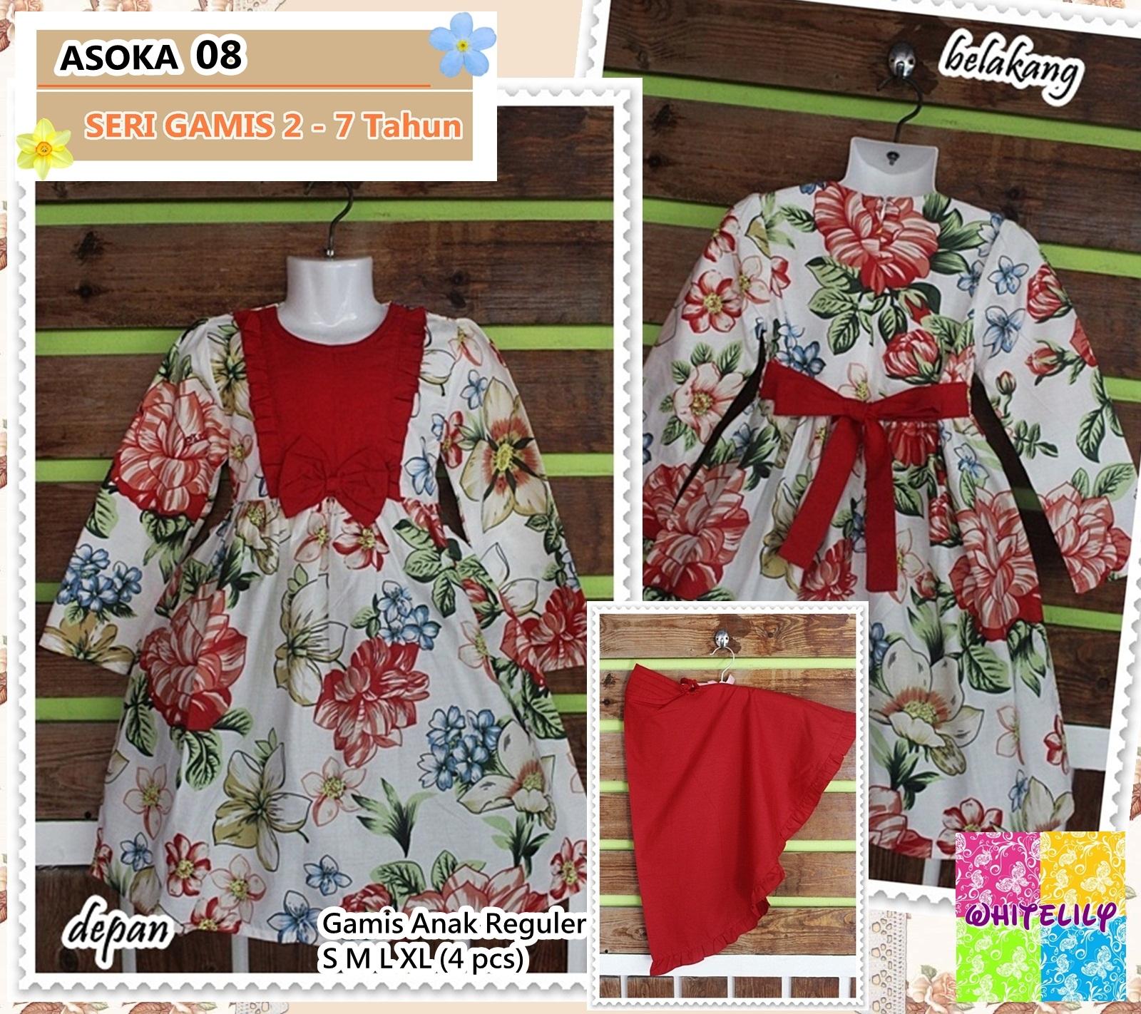 Whitelily Grosir Baju Anak Perempuan Setelan Flower Import Gamis Bahan Katun Twill