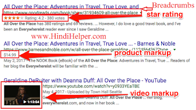 Breadcrumbs,star rating, product markup,video , Schema markup example image