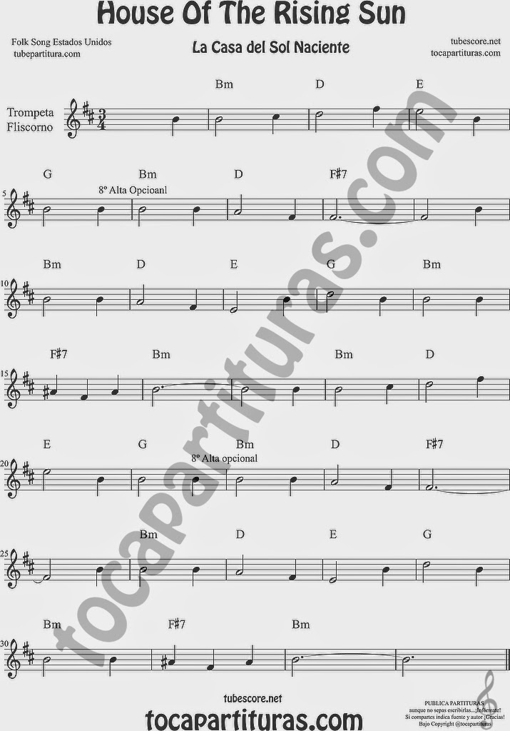 La Casa del Sol Naciente Partitura de Trompeta y Fliscorno Sheet Music for Trumpet and Flugelhorn Music Scores