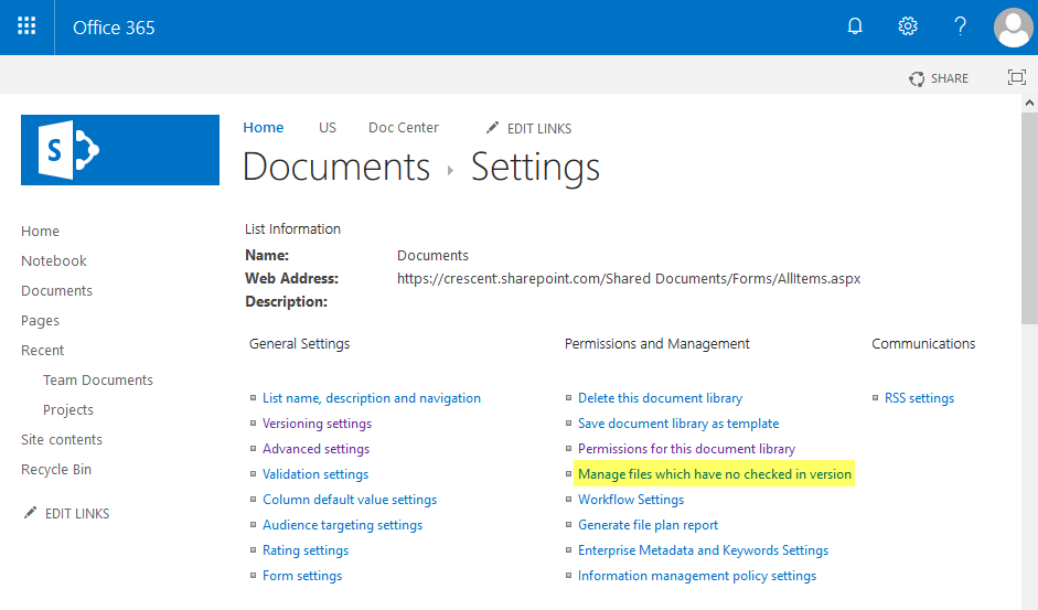 sharepoint online manage files which have no checked in version powershell