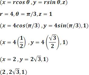transformando un punto de coordenadas cilíndricas a rectangulares