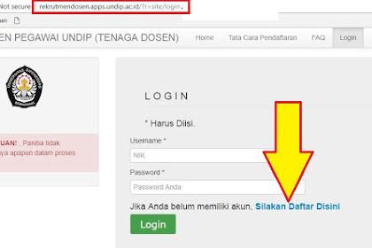 http://rekrutmendosen.apps.undip.ac.id/?r=site/login Alamat Pendaftaran Dosen Undip