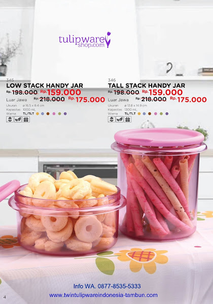 Promo Diskon Low Tall Stack Handy Jar Tulipware Mei 2018