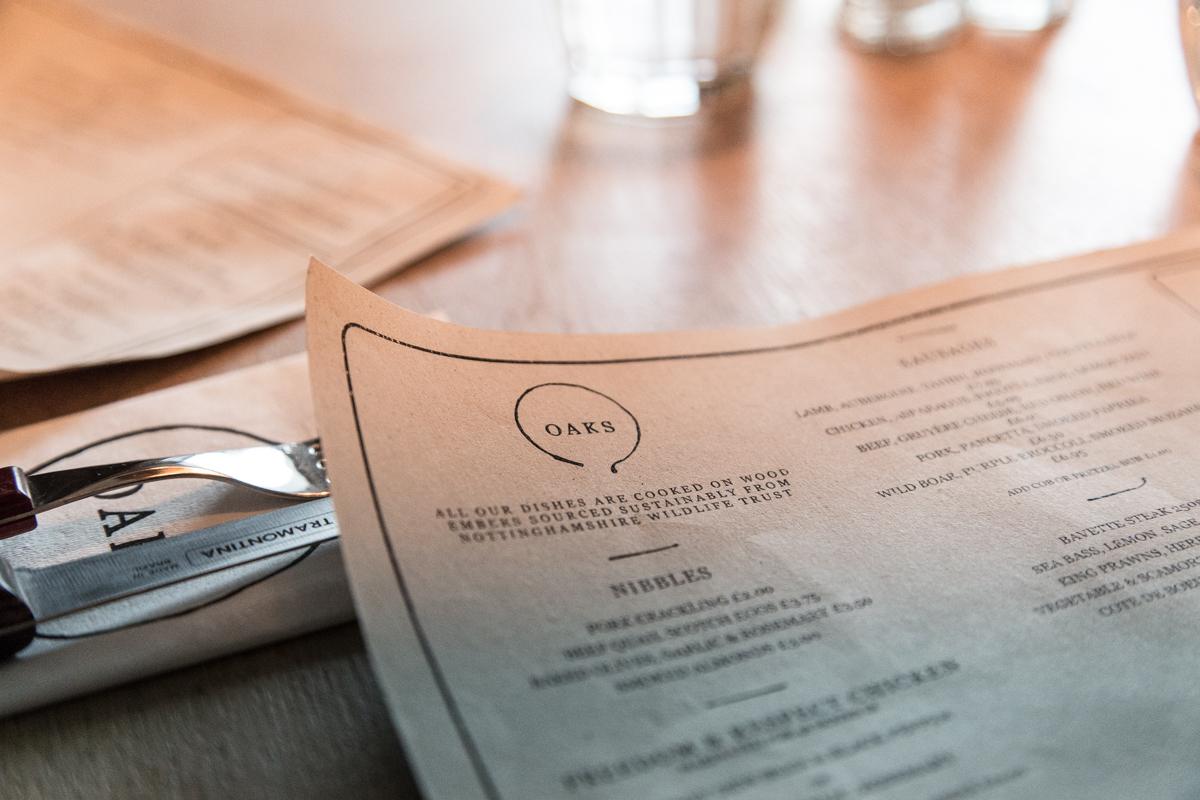 OAKS Nottingham menu