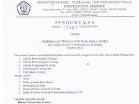 Lowongan Kerja Dosen Universitas Jember Desember 2016