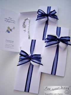 bomboniera segnalibro blu ciondolo chiave cresima