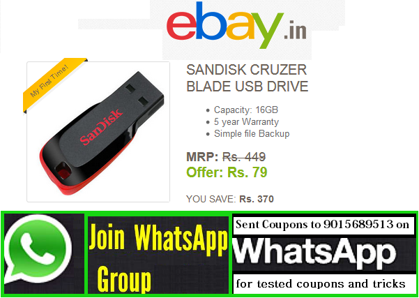 b1c795f666c Ebay Has Come Up With a Super Deal In Which You Can Get Sandisk Cruzer  Blade Usb Drive At Rs. 79 Only.