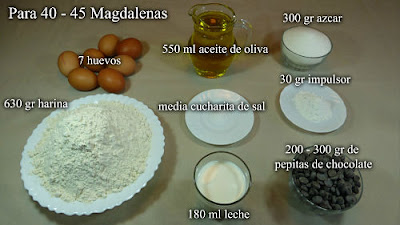 Magdalenas con pepitas de chocolate. Ingredientes