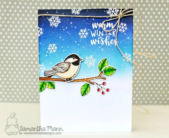 Chickadee Winter Bird Card by Samantha Mann | Winter Birds Stamp Set by Newton's Nook Designs #newtonsnook #handmade