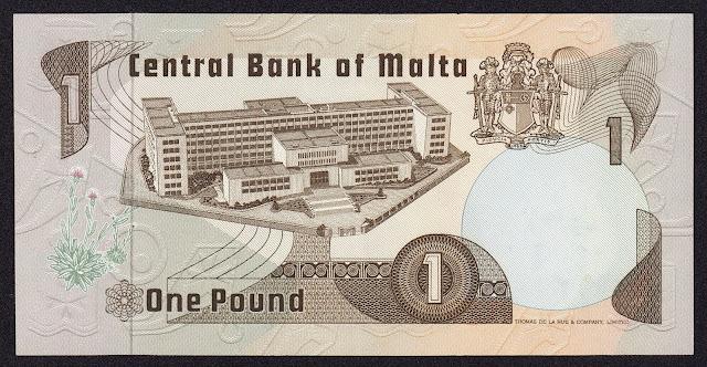 Malta money currency 1 Maltese Lira banknote 1979 university building