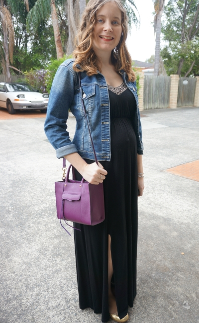 Away From Blue | Second Trimester Spring outfit denim jacket black maxi dress