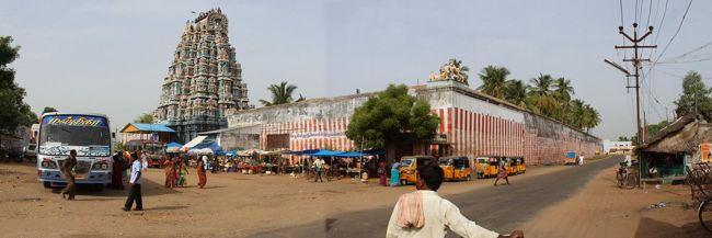 View Of Temple Raja Gopuram With Outer Walls
