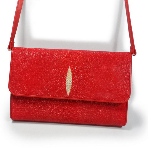 Red clutch stingray leather unique texture with straps very exotic and luxury