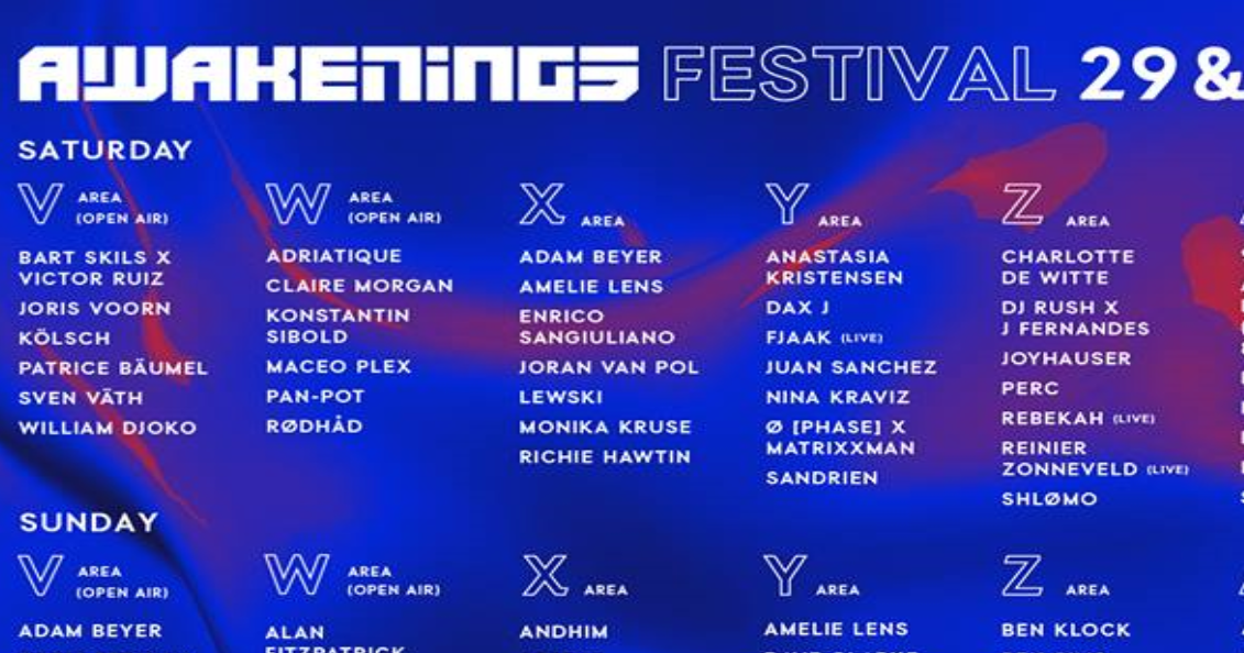 Awakenings Festival Unveils The Stage Breakdown With All The Artists Richie Hawtin Nina Kraviz Maceo Plex Among The Names Track D