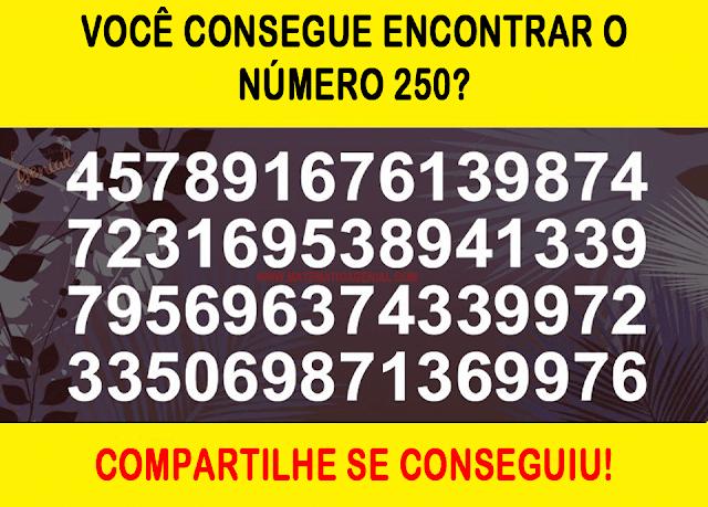 Desafio - Você consegue encontrar o número 250?