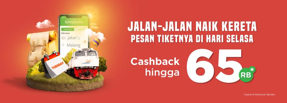 Tokopedia - Promo Cashback 65Ribu Tiket Kereta (HARI INI)
