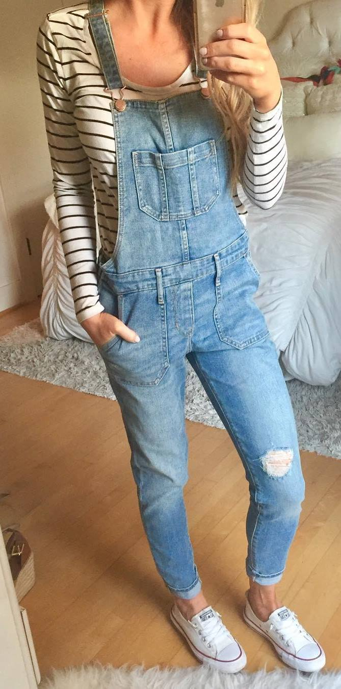 cute outfit idea : top + denim jumpsuit