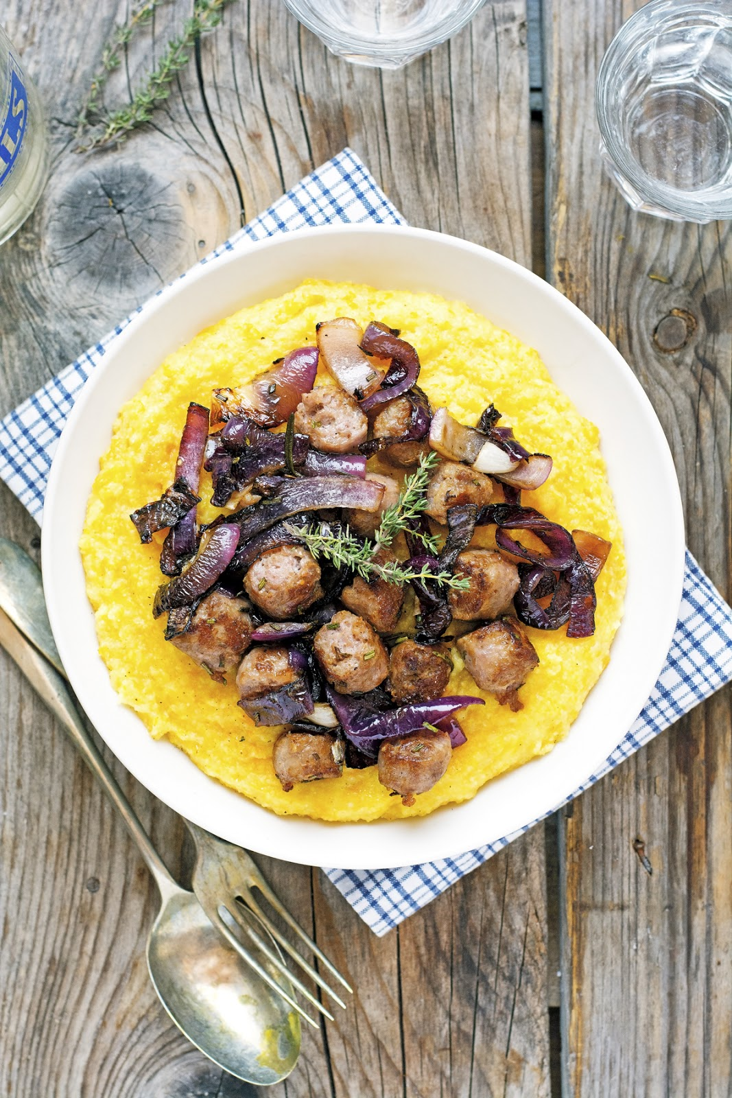 Butternut Squash Polenta with Crispy Sausage and Caramelized Onions