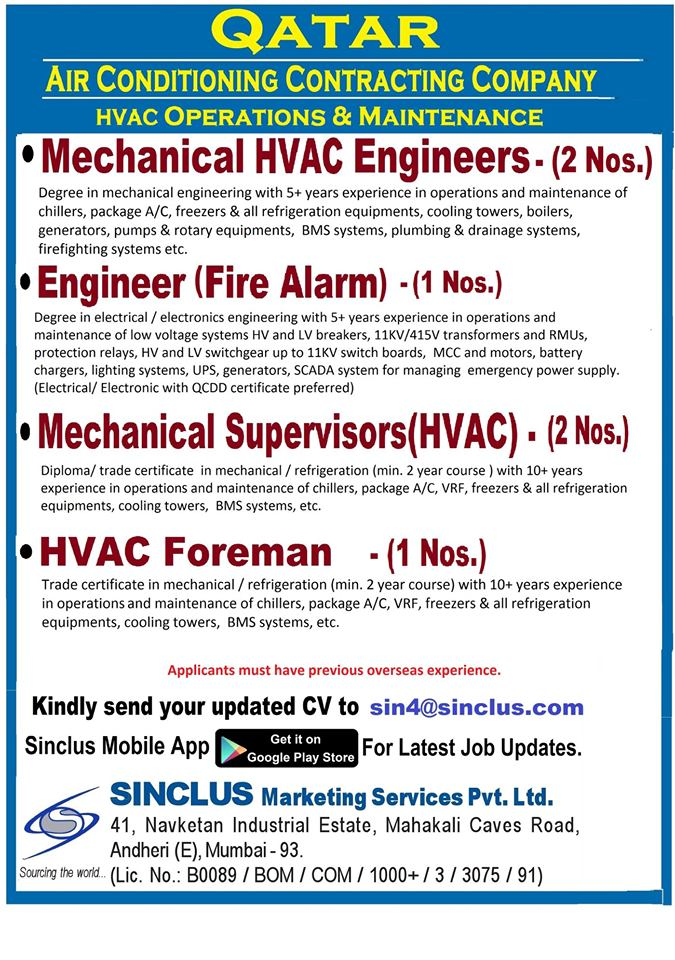 HVAC Operations & Maintenance job in Qatar