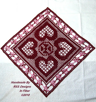 Red Hearts and Flowers Table Topper Square - By Ruth Sandra Sperling in RSS Designs In Fiber Etsy Shop
