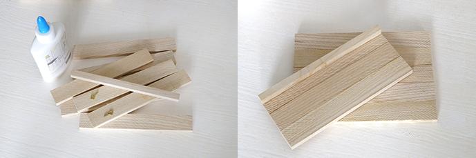 Abbildung der Materialien für eine Holzablage