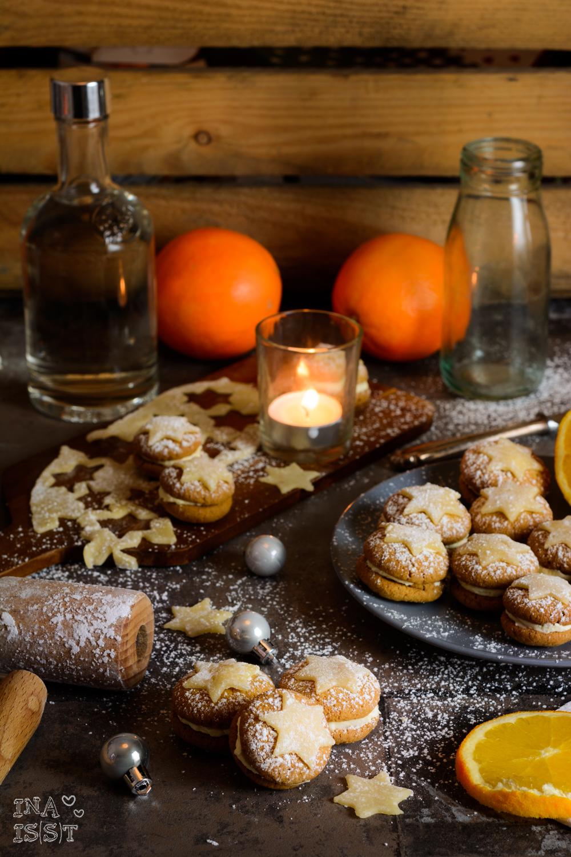 Zarte Orangenlikörplätzchen mit Marzipansternen; vom Fass; Orangenlikör; Rezept