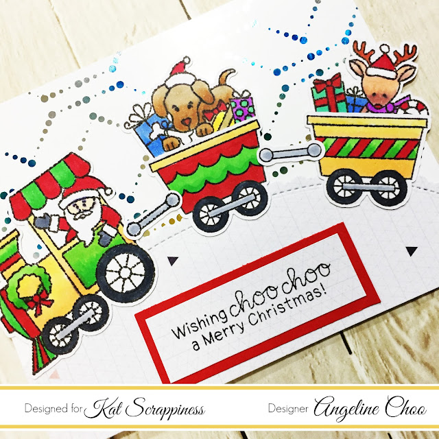ScrappyScrappy: All Aboard for Christmas with Kat Scrappiness #scrappyscrappy #katscrappiness #newtonsnookdesigns #thermoweb #heidiswapp #minc #foil #decofoil #stamp #stamping #christmascard #christmas #copicmarkers #santa #christmastrain #rudolph #foilables