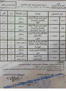 جدول اختبارات سنوات النقل للشهادات الازهرية 2018 الشهادة الاعدادية والثانوية الازهرية