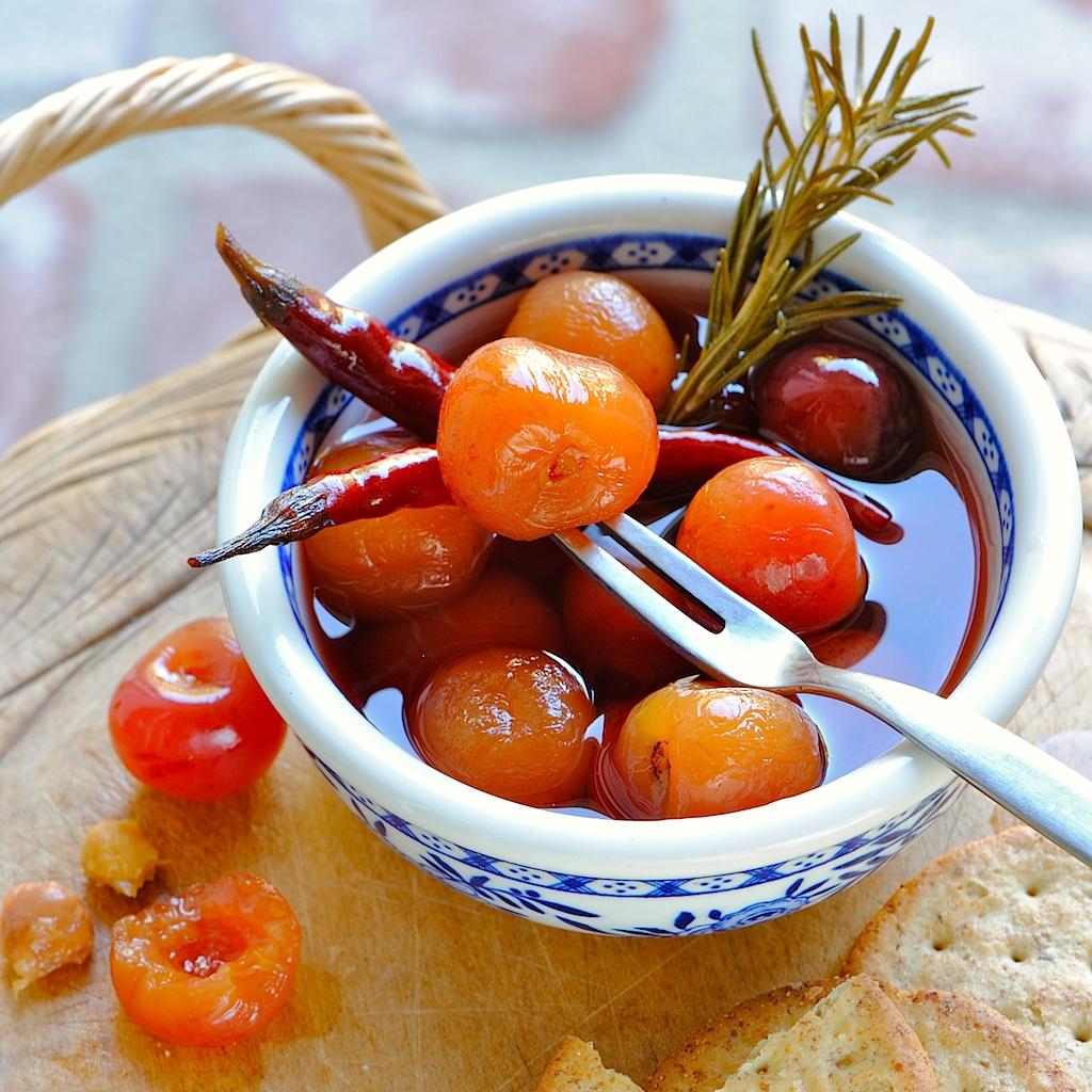 JULES FOOD...: Spicy Sweet Savory Pickled Cherries