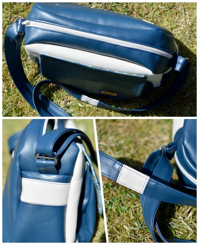 Übersicht der Details und Kontraste der Tasche: Gepatchter Streifen am Seitenteil, gepatchter Trageriemen, vorderseite in Blau-Natur, Reißverschluss in Natur