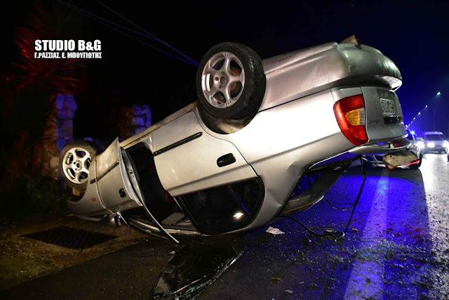 Τροχαίο ατύχημα με ανατροπή οχήματος στην οδό Άργους Ναυπλίου (βίντεο)