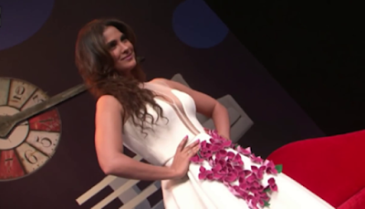 Lara Dutta Showing Huge Boobs In Low Cut White Gown