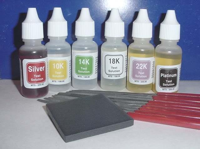 Các mẫu acid dung dịch để thử tuổi vàng
