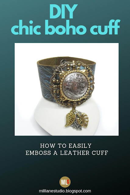 DIY Boho chic embossed leather cuff